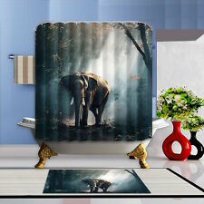 Elephant Waterproof Polyester Home Decor Shower Curtain Flannel Bathroom Mat