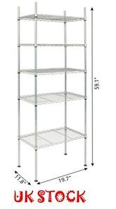 5 Tier Silver Metal Storage Rack/Shelving Wire Shelf Kitchen/Office Unit - UK