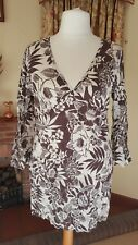 Crema Marrone Crinkle Lungo Vestito Tunica-Per Una M&S Taglia L 14 16-NUOVO Beach