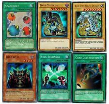 Blue Eyes White Dragon + Dark Magician +Scapegoat +Card Dest. +Soul Ex Set of 6