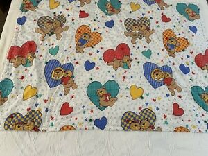 "VINTAGE  Handmade Teddy Bears and Hearts QUILT 52"" x 39"" #875"