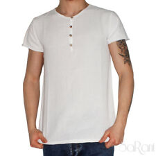 Camiseta Suéter Media Manga Cuello Redondo en Blanco con Botones Algodón Sarani
