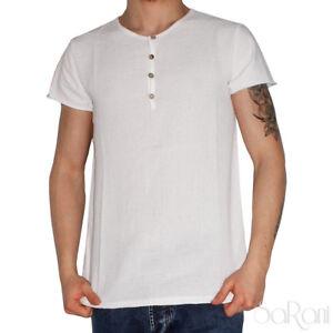T-Shirt Jersey Kurze Ärmel Rundhalsausschnitt Weiß Mit Knöpfe Baumwolle Sarani