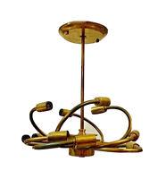 1 Vtg Mid Century Modern Brass Sputnik Light Fixture Chandelier Sciolari Italy