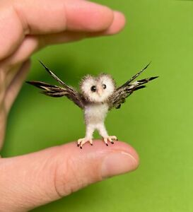 Dollhouse Miniature OOAK Realistic Barn Owl bird - Malinik Miniatures