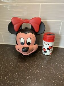 Vintage Minnie Mouse Head Lunch Box/Pail Plastic Aladdin WITH THERMOS