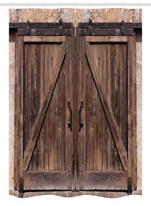 """Rustic Stall Shower Curtain Wooden Barn Door Image Print for Bathroom 54""""x78"""""""