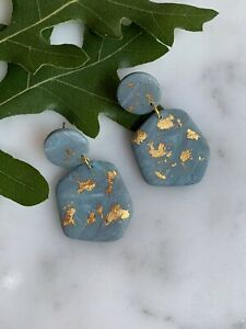 Handmade polymer clay earrings. Surgical Steel Posts - Turquoise Marble w/gold
