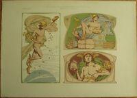 Art Nouveau 'Sturm' 1900 Print - Mercury/Mercure, Color Litho