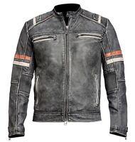 Men's Biker Vintage Motorcycle Cafe Racer Retro 2 Moto Distressed Leather Jacket