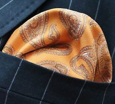Hankie Pocket Square Handkerchief Orange & Gold Paisley