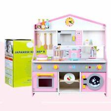 Large Kids Wooden Play Kitchen Boys Girls Childrens Play Set Utensil Toys ~Pink