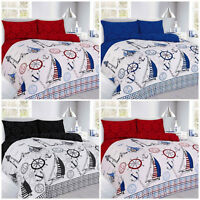 Jake Sailing Boats Print Duvet Quilt Cover With Pillowcase in Red,Black,Blue