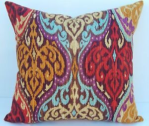 "17"" IKAT Damask Red Blue Purple Old Gold Decorative Designer Throw Pillow COVER"