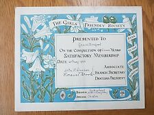 Antique 1922 GIRLS' FRIENDLY SOCIETY Certificate Chester GFS Grace Barfoot