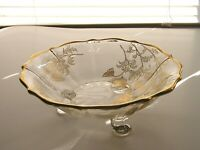 Vintage Depression Clear Glass Flanders Gold Overlay Bowl Silver City Cambridge