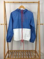 Columbia Women's Blue White Colorblock Hooded Full Zip Windbreaker Jacket Sz XS