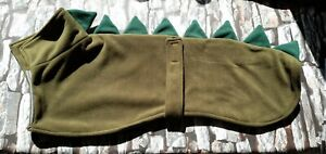 Greyhound  dog fleece coat 28inch 71cm green dragon / dinosaur double layer