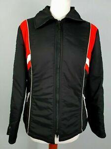 Vintage Black Ski Jacket Ladies in Nylon c1980s/1990s -M- SA54