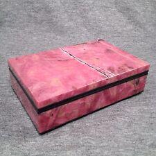 "Natural Pink Rhodonite Crystal Jewelry Box Carving Gemstone 5x3"" *US SELLER*#203"