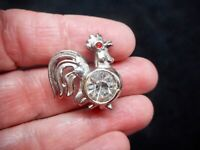 Authentic Vintage 1940's Silver Tone Headlight Rhinestone Rooster Brooch