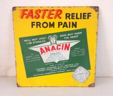 1940's Vintage Old Rare Anacin Tablets Advertising Porcelain Enamel Sign Board