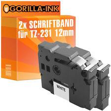 2x Schriftbandkassette für Brother P-Touch H100R H101 H101GB H101LB TZ-231