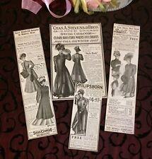 Antique Ladies Coats & Furs Magazine Ads c 1905 Edwardian Vintage Advertisements