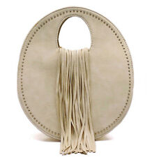 Vieta, Smaller Medium Zip-Top Round Crossbody with Fringe Accent- Ivory