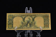 <TOUCHABLE DETAIL>GOLD 1901 Series$10 DOLLAR Bill Bison BANKNOTE Rep*~US SELLER!