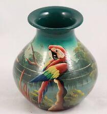 Handmade / Painted Ceramic Peru Flower Vase Parrot Collectible Original