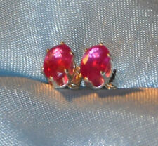 6mm X 4mm  OVAL  RUBY STERLING SILVER STUDS-- 1.00CTW