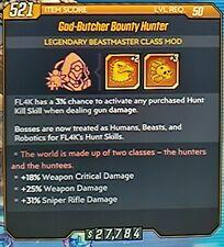 "Borderlands 3 BEASTMASTER CLASS MOD ""GOD-BUTCHER BOUNTY HUNTER"" level50 XBOX ONE"