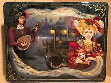 RUSSIAN LARGE LACQUER BOX MYSTERIOUS VENICE PALEKH HAND PAINTED MASK PIER RARE