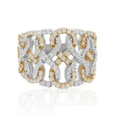 1.09 Ct Natural White Round Diamond Infinity Lace Ring Sterling Silver Two-Tone