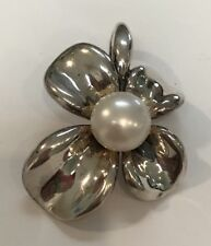 ANN KING Sterling Silver Button Pearl Orchid Flower  Pendant  Enhancer Large