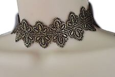 Women Wide Gold Floral Leaves Fashion Choker Necklace Strap Black Fabric Lace