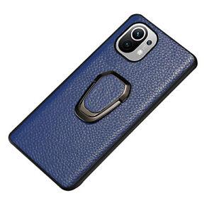 Echtleder Back Cover Handy Ring Magnet Halter Stand Hülle Hart Schale für Xiaomi