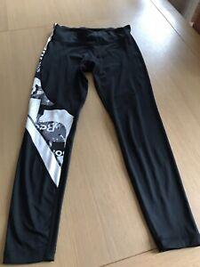 Ladies Reebok Black & White Sports Leggings - Medium