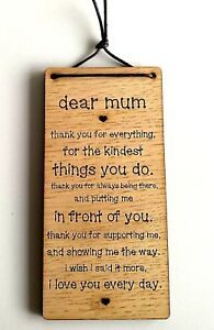 Hanging Wooden 'Dear Mum' Plaque Sentimental Gift Rustic Sign Birthday Mother