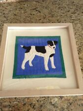 Original Dog Quilt Block Fabric Wall Art --Carolyn Cole, Signed