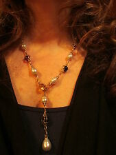 14 KT Paspaley South Sea Pearl & Citrine Amethyst Topaz Station Necklace Lariat