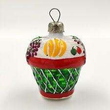 "Christmas Ornament ""Green Fruit Basket with Pattern"" vintage Decoration USSR"
