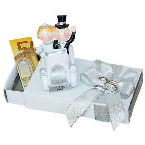ღ Geld Geschenk Box zur silbernen Hochzeit ღ Silbhochzeit 25 Silberpaar