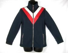 Tommy Hilfiger Womens Track Jacket Small Blue Multicolor Flag Striped Fleece $90