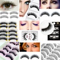 hot !!Handmade Makeup Thick False Eyelashes Eye Lashes Long Black Nautral hs