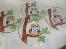 HAND PAINTED OWLS IN A TREE. . SET /4 9 INCH PLATE/MADE IN USA