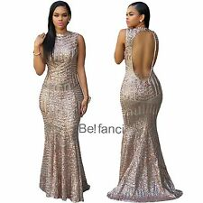 New Stunning Gold Sequins Keyhole Back Fishtail Mermaid Gown Maxi Dress 10 12 UK
