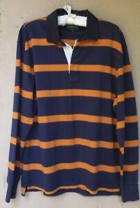 MEN'S  J. Crew Always Navy/Orangish-Brown Striped Cotton Rugby Shirt   Medium