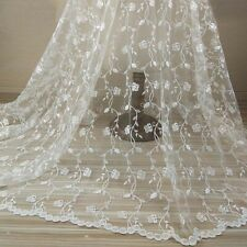 """1 Yard Ivory Flower Embroidery Tulle Mesh Dress Lace Fabric DIY Material 51""""Wide"""